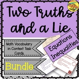 Two Truths and a Lie Math Equations and Inequalities Vocab