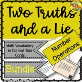 Two Truths and a Lie Math Number Operations Vocabulary Bundle