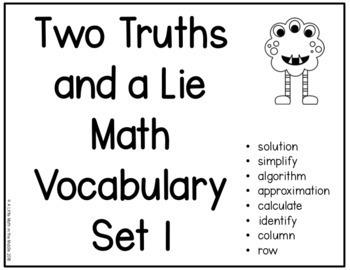 Two Truths and a Lie Math Vocabulary Set 1