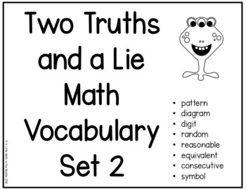 Two Truths and a Lie Math Vocabulary Set 2