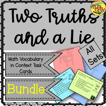 Two Truths and a Lie Math Vocabulary GROWING Bundle