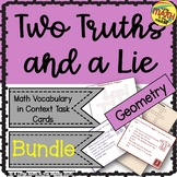 Two Truths and a Lie Math Geometry Vocabulary Bundle