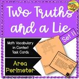 Two Truths and a Lie Math Vocabulary Set 11