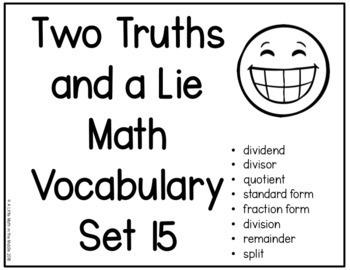 Two Truths and a Lie Math Vocabulary Set 15