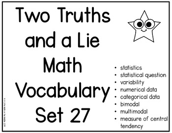 Two Truths and a Lie Math Vocabulary Set 27 Statistical Questions