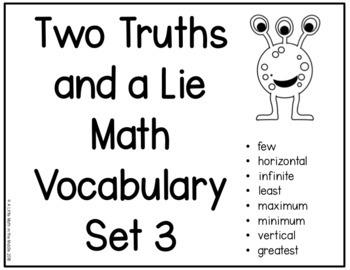 Two Truths and a Lie Math Vocabulary Set 3