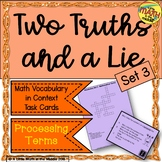 Two Truths and a Lie Math Vocabulary Set 3