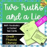 Two Truths and a Lie Math Vocabulary Set 31 Credit Financi