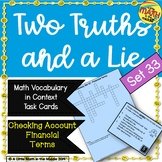 Two Truths and a Lie Math Vocabulary Set 33 Financial Terms