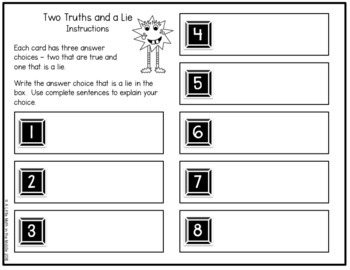 Two Truths and a Lie Math Vocabulary Set 4