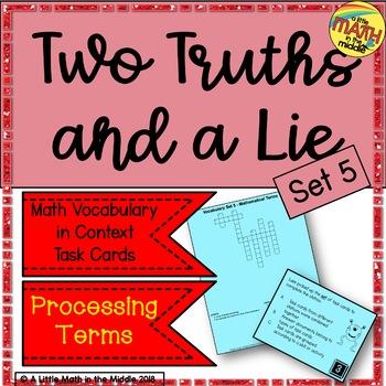 Two Truths and a Lie Math Vocabulary Set 5