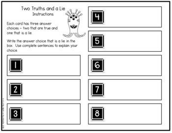 Two Truths and a Lie Math Vocabulary Set 6