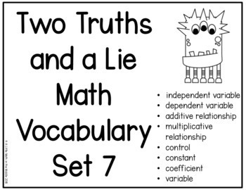 Two Truths and a Lie Math Vocabulary Set 7