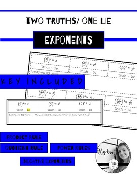 Two Truths & one LIE Exponent rules