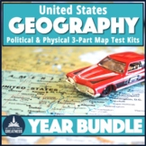 US Geography Map Test Bundle Political and Physical