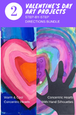 Two Valentine's Day Art Lesson Step-by-Step Directions Pages - Concentric Hearts