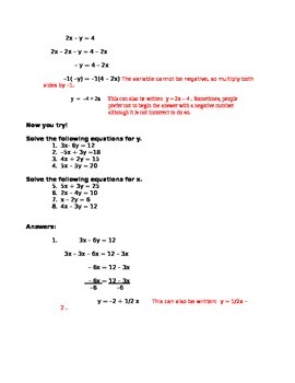 Two Variable Equations Solving for one Variable in Terms of the Other One