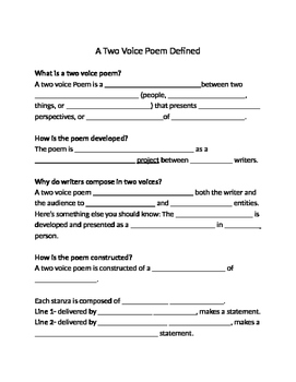 Two Voice Poem Student Notes and Fill in the Blank