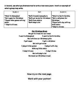 Two Voice Poem Worksheet