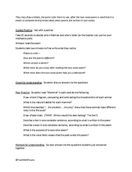 Two Voice Poetry STAAR Stem Questions/Lesson for Seventh Grade ESL