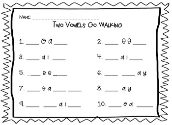Two Vowels Go Walking Write The Room