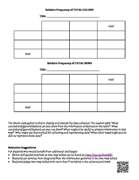 Two Way Table Survey Activity