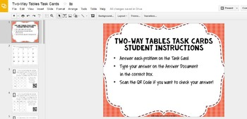 Two-Way Tables (Interpreting Data) Task Cards with QR Codes GOOGLE Slide Version