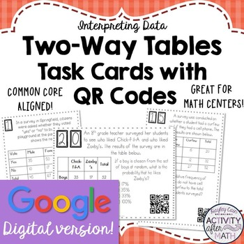 Two-Way Tables (Interpreting Data) Task Cards with QR Code
