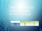 Two Way Tables Walk Around or Gallery Walk with a Riddle