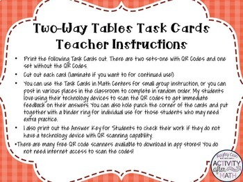 Two-Way Tables (Interpreting Data) Task Cards with QR Codes