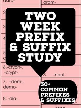 Two Week Prefix & Suffix Study