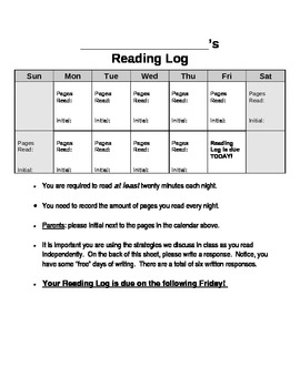 Two - Week Reading Log with Written Response Prompts