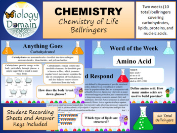Two Weeks of Chemistry of Life Bell Ringers Warm Ups with Answer Key