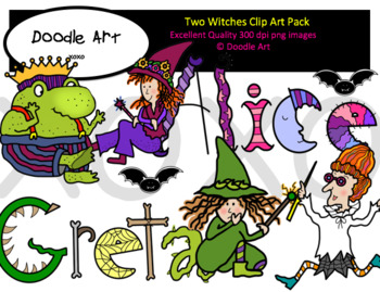 Two Witches Clipart Pack