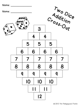 Two and Three Dice Addition Cross-Out FREEBIE!