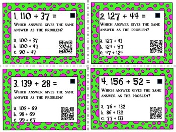 Two and Three Digit Addition with QR Codes