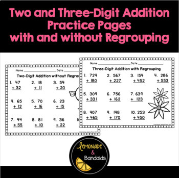 Two and Three Digit Addition Printables with and without Regrouping