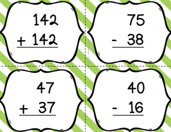 Two and Three Digit Addition & Subtraction Bingo