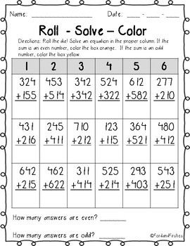 Two and Three Digit Addition Worksheets! No Regroup!