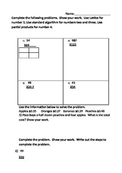Two and Three Digit Multiplication Assessment