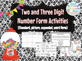 Two and Three-Digit Number Forms Centers and Activities