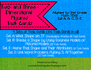 Two - and Three Dimensional  Figures Task Cards {Math TEKS 2.8 A, B, C, D, E}