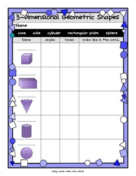 Two and Three Dimensional Shapes Activities