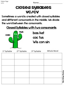 Two and Three Syllable Words (Closed Syllables) Level Three