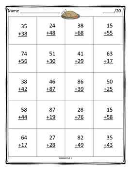 Two and Three digit addition with regrouping - November theme