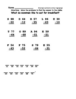 Two and Three digit subtraction without regrouping bundle
