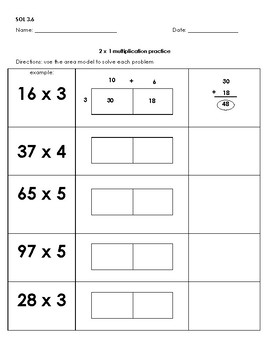 Two by One Digit Multiplication Area Model