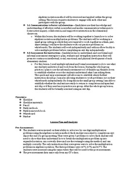 Two by One Multiplication Formal Lesson Plan