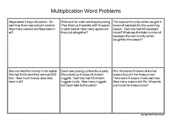 Two by One digit Multiplication Word Problems