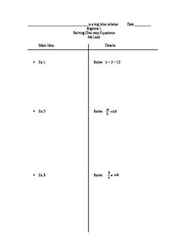 Two-column notes for One-step equations